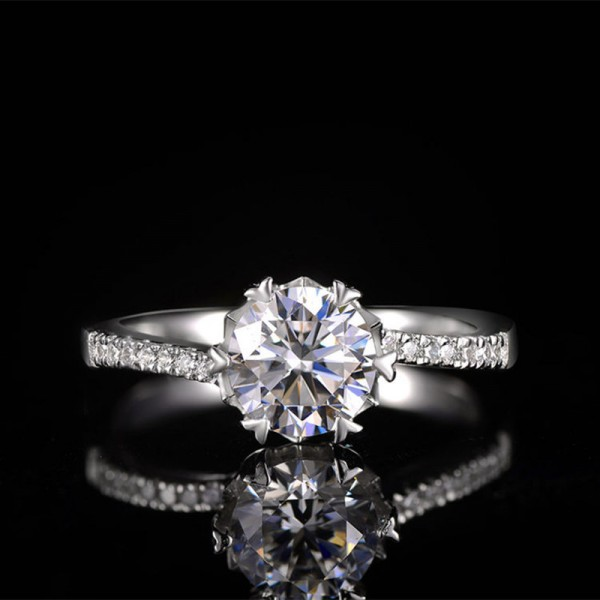 Engravable Twist Solitaire with Side Accent Round Cut Moissanite Promise Ring