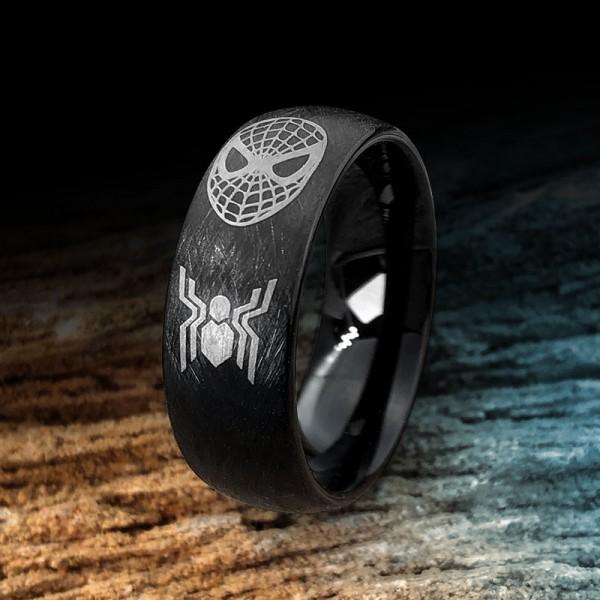 Engravable Black Spiderman Tungsten Wedding Ring For Men