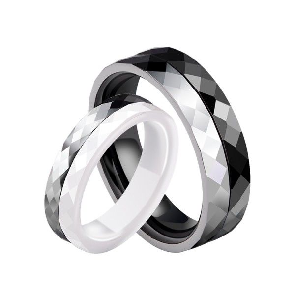 Engravable Tungsten Ceramic Black And White Couple Ring