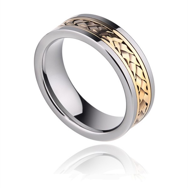 Engravable 18K Yellow Gold Wedding Ring For Men In Tungsten