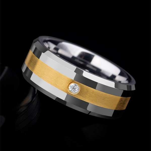 Engravable 0.03ct Diamond Wedding Ring For Men In Tungsten And 14K Yellow Gold