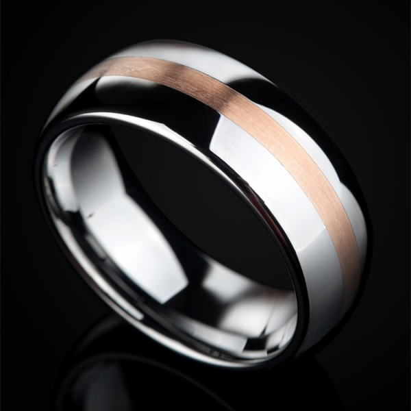 Engravable 14K Rose Gold Wedding Band For Man In Tungsten