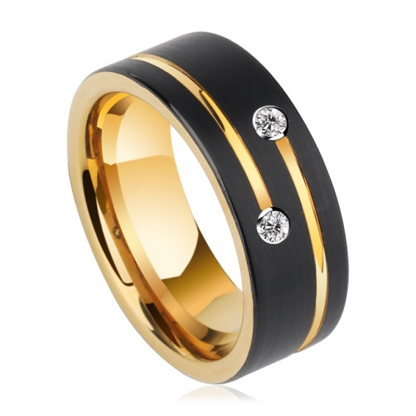 Engravable Moissanite Black Wedding Band For Men In Tungsten