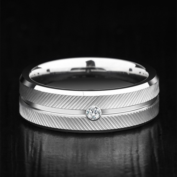 Engravable Moissanite White Wedding Band For Men In Tungsten