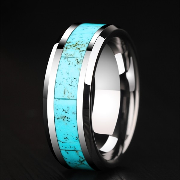 Engravable Turquoise Wedding Band For Men In Tungsten