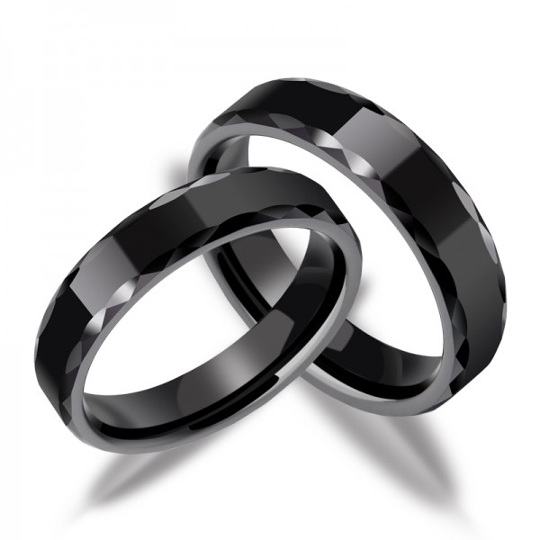 Engravable Ceramic Black Promise Ring For Couples