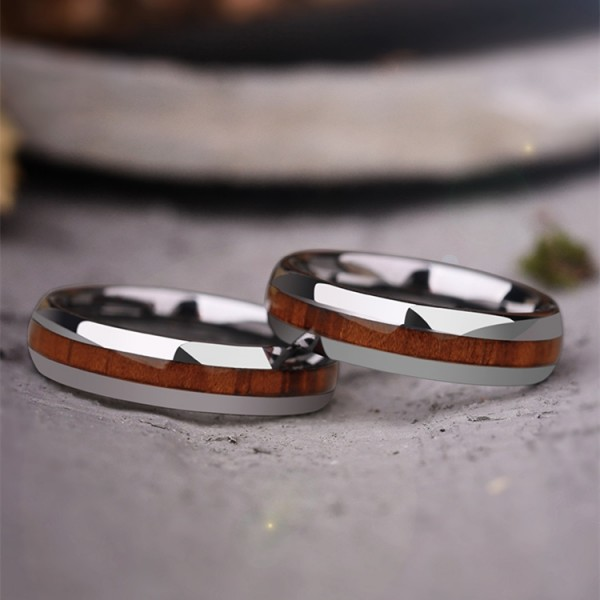 Engravable Wooden Promise Ring For Couples In Tungsten
