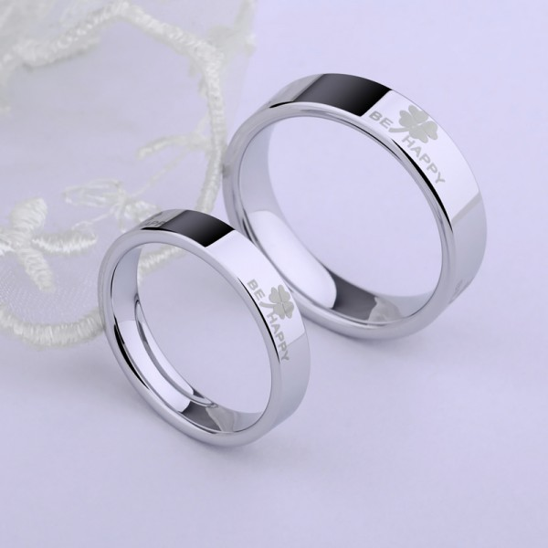 Engravable Four Leaf Clover Promise Ring For Couples In Tungsten