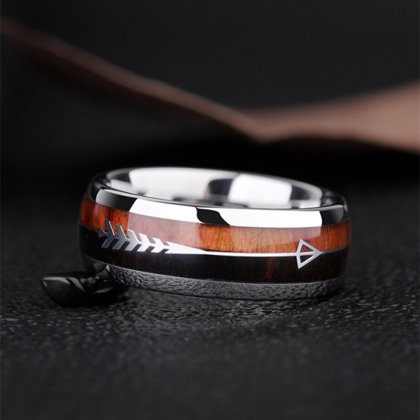 Engravable Cupid's Arrow Wedding Band For Men In Tungsten