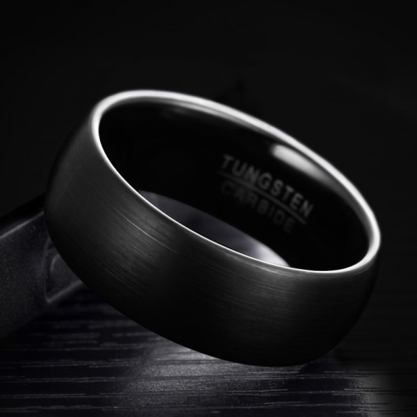 Engravable Frosted Black Wedding Band For Men In Tungsten