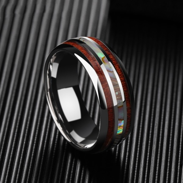 Engravable Shell And Wooden Men's Wedding Band In Tungsten