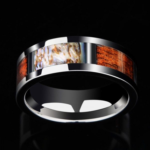 Engravable Wooden And Shell Men's Wedding Ring In Tungsten