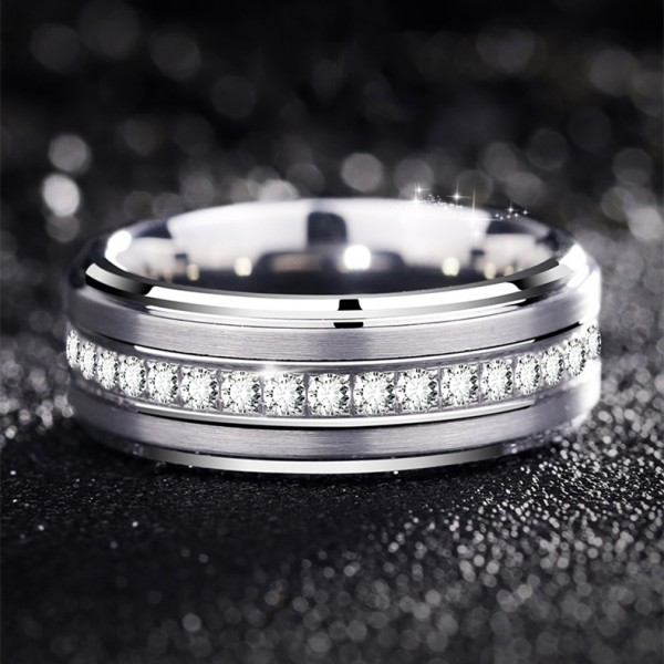 Engravable Frosted Tungsten Wedding Band For Men With Cubic Zirconia