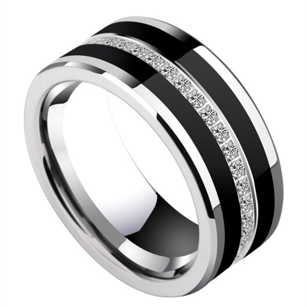 Engravable Cubic Zirconia Wedding Band For Men In Tungsten