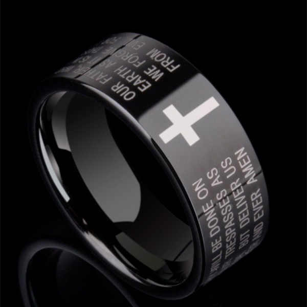 Engravable The Lord's Prayer Black Cross Wedding Band For Men In Tungsten