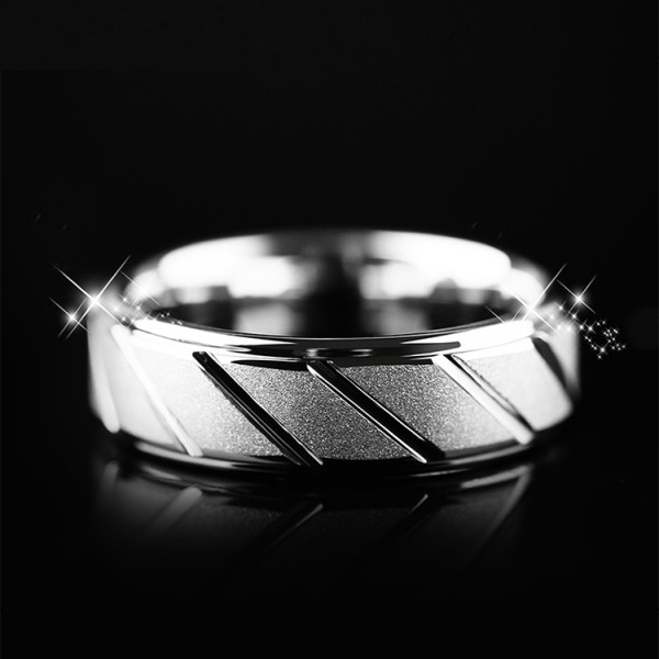 Engravable Frosted Diagonal Wedding Band For Men In Tungsten