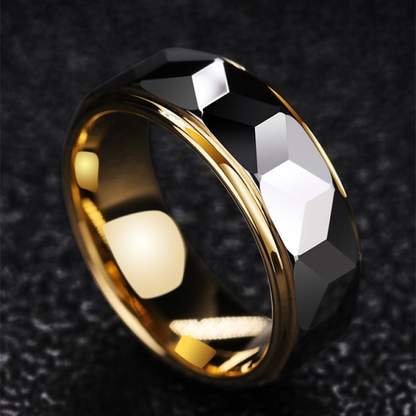 Engravable Regular Polygon Wedding Band For Men In Tungsten