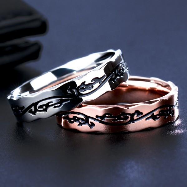 Engravable Vines Titanium Promise Ring For Couples