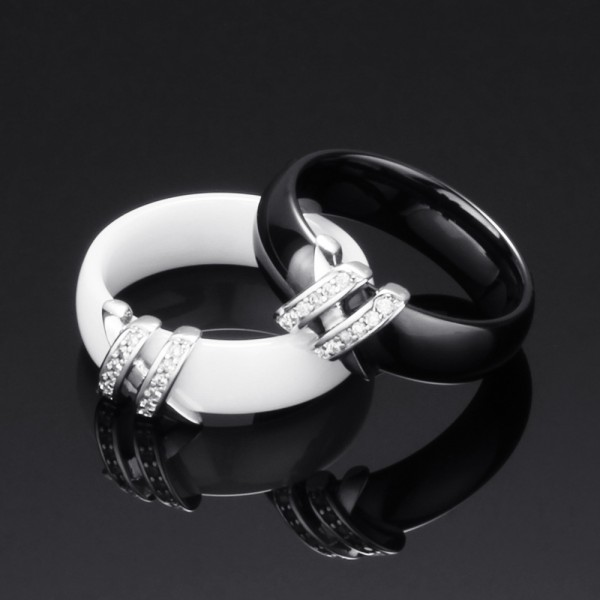 Personalized Black And White Ceramic Promise Ring For Couples