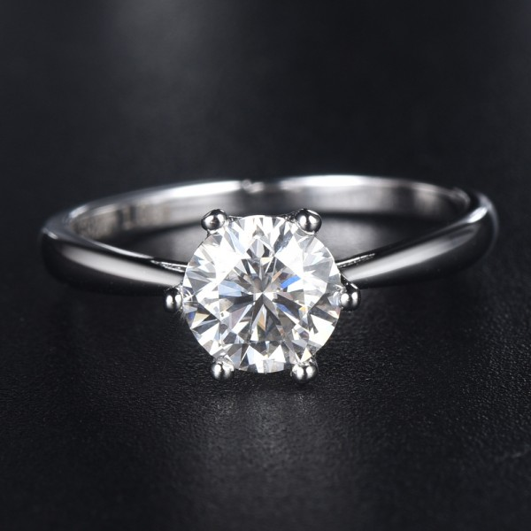 Engravable Round Cut Solitaire Moissanite Promise Ring For Women In Silver