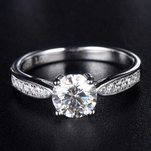 Engravable Solitaire with Side Accent 1ct Moissanite Promise Ring For Women In Silver