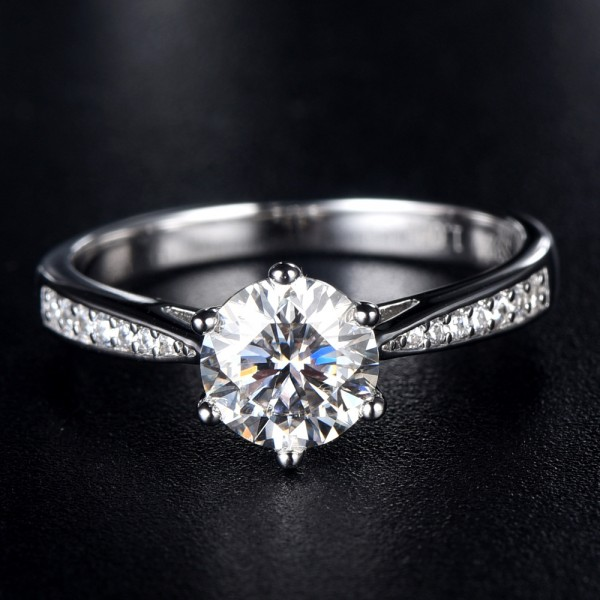 Engravable Solitaire with Side Accent Round Cut 1ct Moissanite Promise Ring For Women