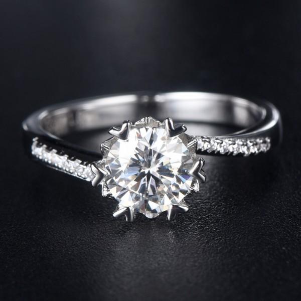 Engravable Twist Flower Moissanite Promise Ring For Women In Sterling Silver