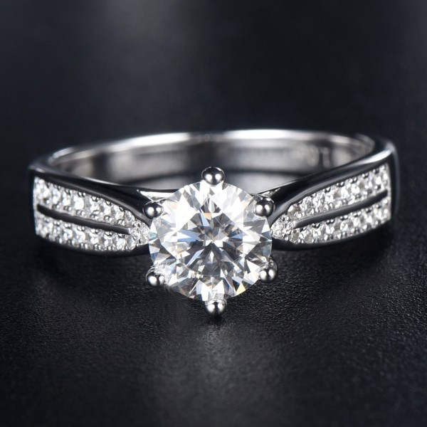 Engravable Solitaire with Side Accent 1ct Moissanite Promise Ring In Sterling Silver