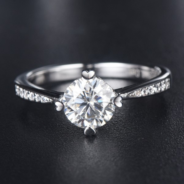 Engravable Round Cut 1ct Moissanite Promise Ring For Women In Sterling Silver