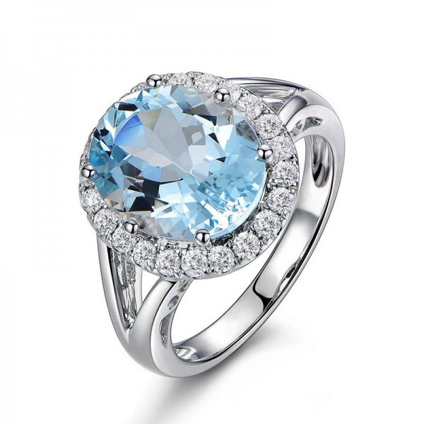 Engravable Halo Blue Topaz Promise Ring For Women In Sterling Silver