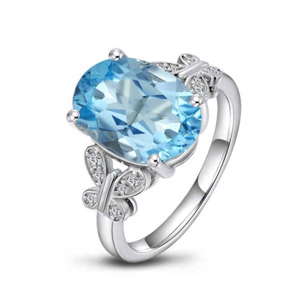 Engravable Solitaire Blue Topaz Promise Ring For Women In Silver