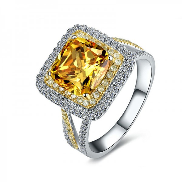 Engravable Cluster Princess Cut Topaz Promise Ring For Women In Silver