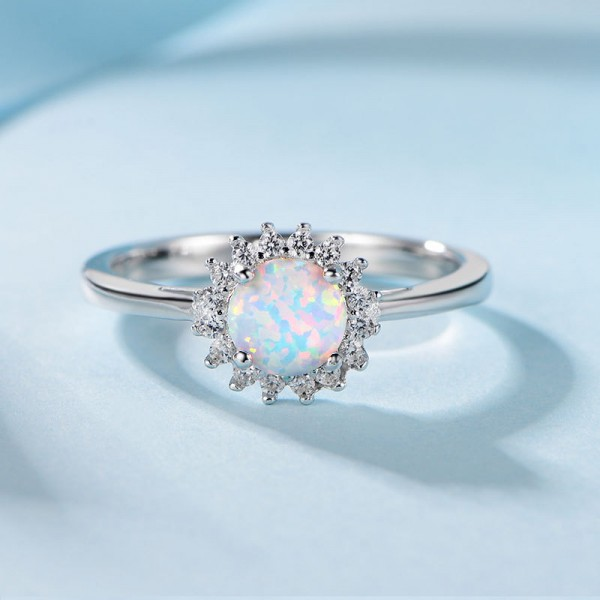 Engravable Round Cut Opal Flower Promise Ring For Women In Sterling Silver