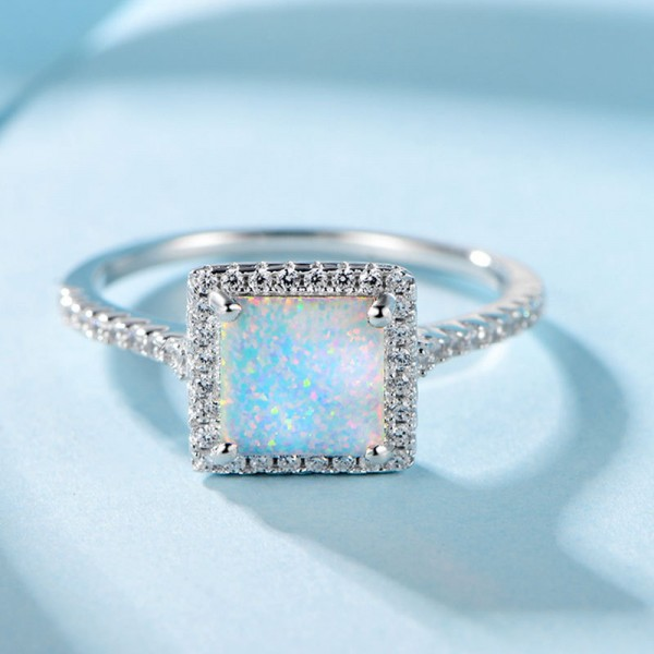 Engravable Princess Cut Opal Promise Ring For Women In Silver