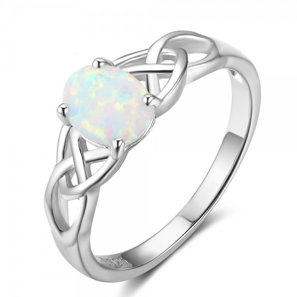 Engravable Oval Cut Opal Knot Promise Ring For Women In Sterling Silver