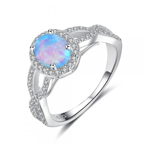 Engravable Oval Cut Opal Infinity Promise Ring For Women In Sterling Silver