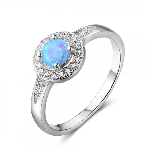 Engravable Round Cut Cluster Opal Promise Ring For Women In Sterling Silver