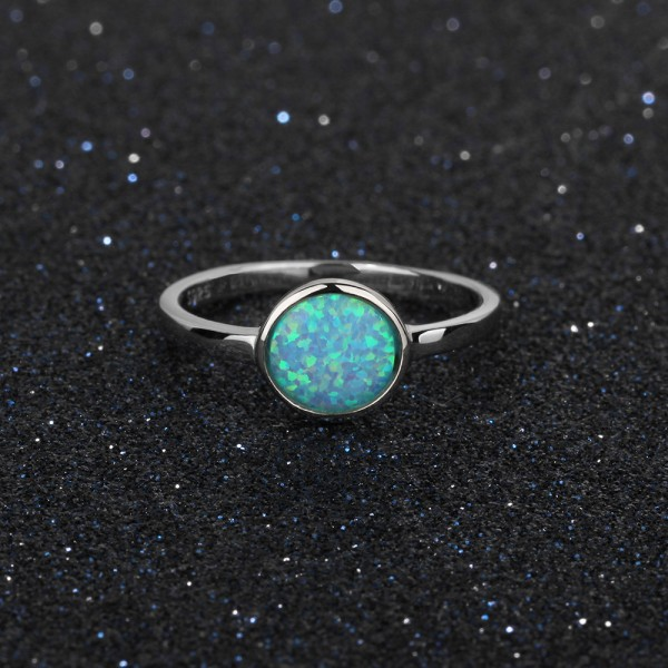 Engravable Round Cut Solitaire Opal Promise Ring For Women In Sterling Silver