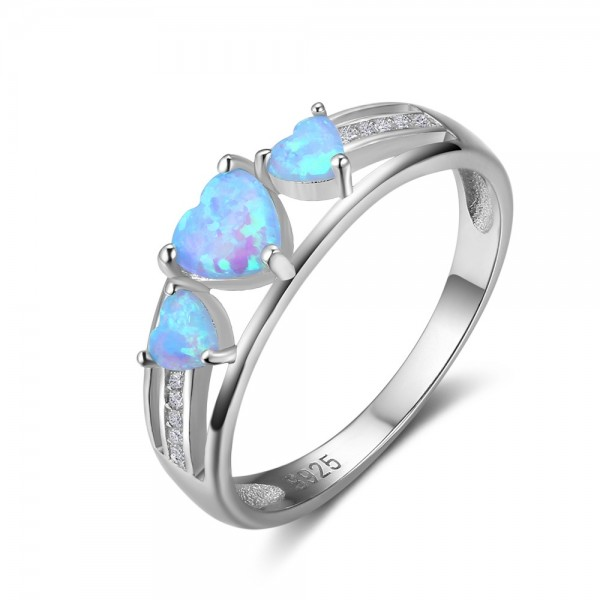 Engravable 3 Heart Cut Opal Promise Ring For Women In Sterling Silver