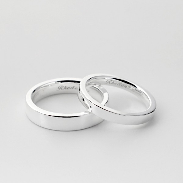 Engravable Simple Promise Band For Couple In Sterling Silver