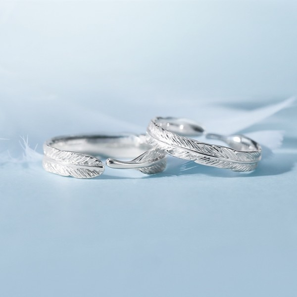 Engravable Feather Promise Ring For Couples In Sterling Silver
