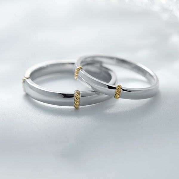 Engravable Sterling Silver Inlay 18K Gold Simple Promise Ring For Couples