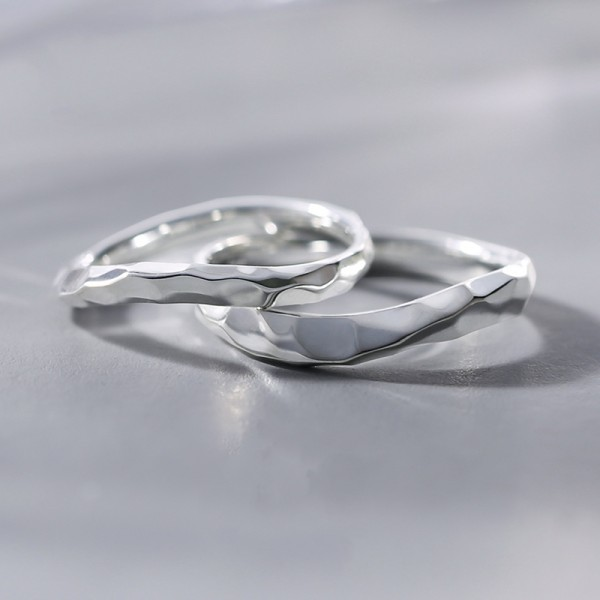 Engravable Unique Arc Promise Ring For Couples In Sterling Silver