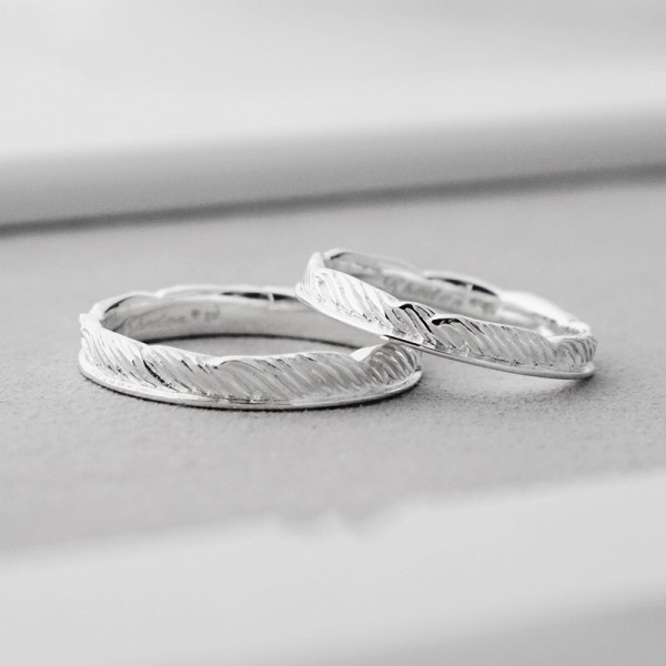 Engravable Unique Frosted Promise Ring For Couples In Sterling Silver