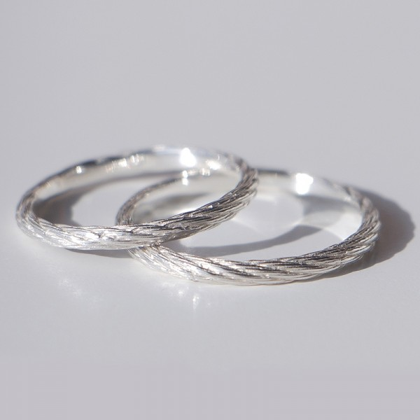 Engravable Rope Promise Ring For Couple In Sterling Silver