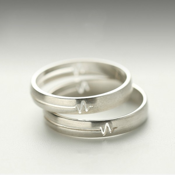 Engravable Heartbeat Promise Ring For Couple In Sterling Silver