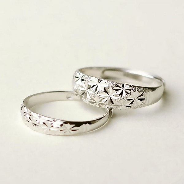 Engravable Snowflake Promise Ring For Couples In Sterling Silver