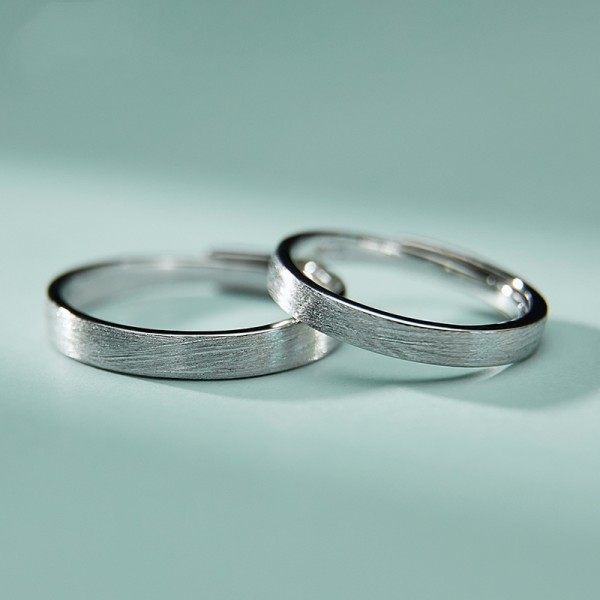 Engravable Simple Frosted Promise Ring For Couples In Sterling Silver