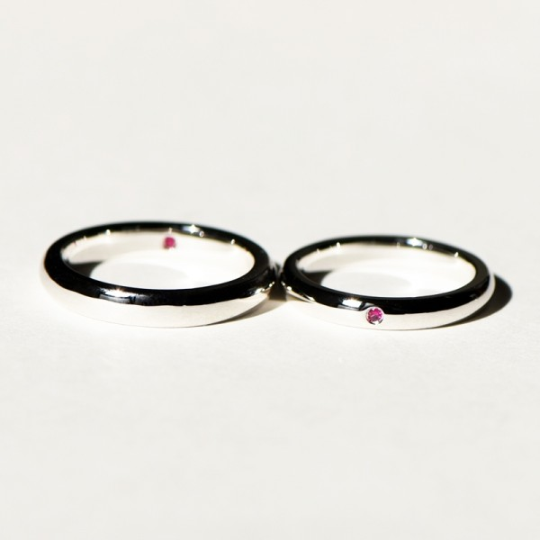 Engravable Ruby Promise Band For Couples In Sterling Silver