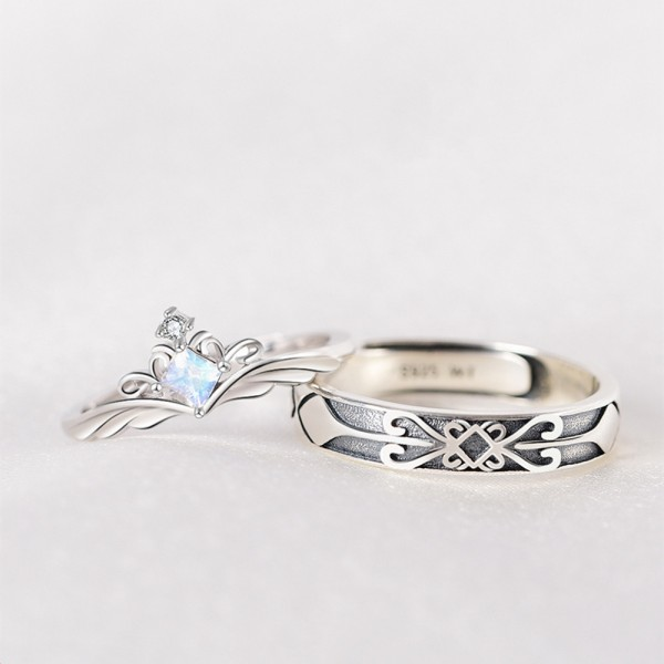 Adjustable Princess And Knight Moonstone Promise Ring For Couples In Sterling Silver